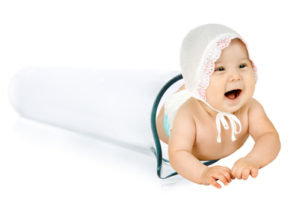 happy test-tube baby on white background, isolated, horizontal photo
